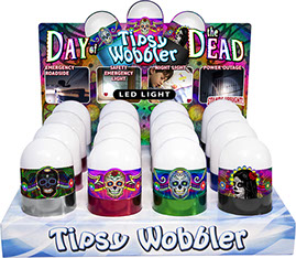Day of the Dead LED Tipsy Wobbler Display 16 pc Emergency Light, Stands Up, Batteries Included, Sugar Skull, calavera Item 110530DAYOFDEAD