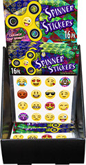 Emoji Fidget Spinner Sticker 16 pack 18 pc Display, Item 71714, Smiley Open Mouth, Heart Eyes, Joy w/ Tears, Pile of Poo, Tongue Stuck Out Wink