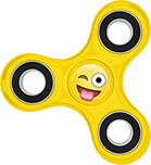 Emoji Hand Fidget Spinner, Yellow Emoji Tongue Stuck Out with Winking Eye