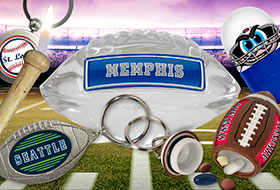 Sports: Memphis Crystal Glass Football Football, Baseball Bat Lighter, Zinc Round Keychain, City Helmet Tipsy Wobbler, Football Pill Fob, Hockey