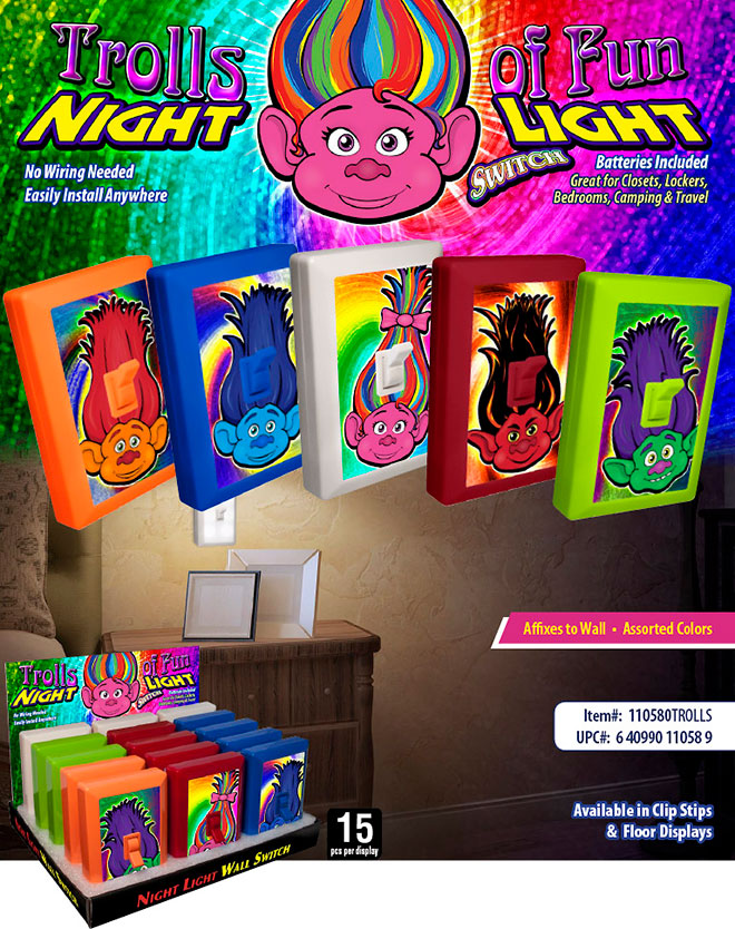 Trolls of fun night light switch trolls of fun 6 led night light wall switch sale sheet no wiring needed mozeypictures Choice Image
