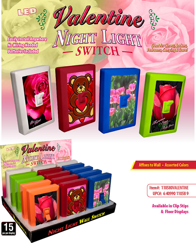 Valentine night light switch valentine 6 led night light wall switch sale sheet 15 pc display no wiring needed mozeypictures Choice Image